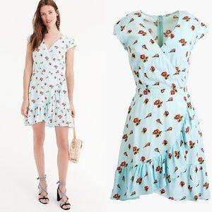 •J.CREW• Faux Wrap Mini Dress In Roses Print Sz 2.